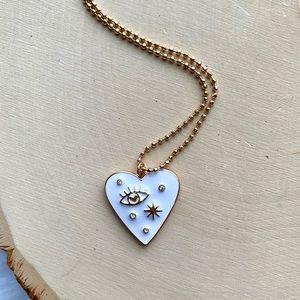 NEW Free People Celestial Heart Enamel Necklace